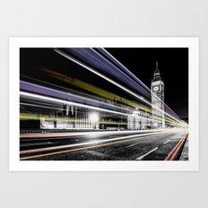 Big Ben light trails Art Print