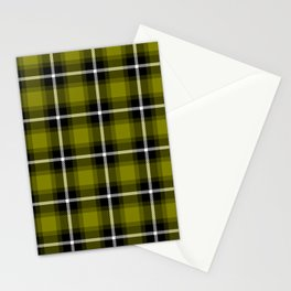 OLIVE (#808000) color themed SCOTTISH TARTAN Checkered Fabric Pattern texture background Stationery Cards