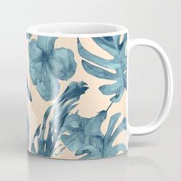 Island Vacay Hibiscus Palm Pale Coral Teal Blue Coffee Mug
