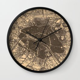 Vintage Map of Paris France (1907) 2 Wall Clock