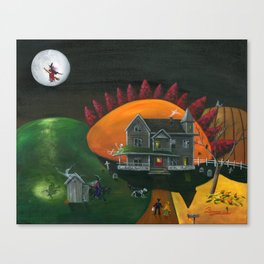 Hilly Haunted House Canvas Print