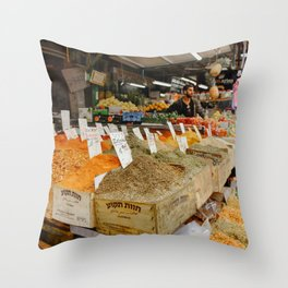 Spices traditional market in Tel Aviv, Israel | Colorful souk travel photography | Fine art print Throw Pillow
