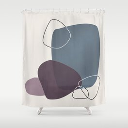 Abstract Glimpses in Peninsula Blue and Aubergine Shower Curtain