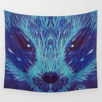 badger Wall Tapestries featuring Blue Honey Badger by ArtLovePassion