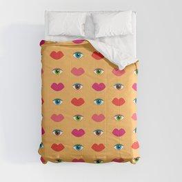 Eyes & Lips in Custard (pattern) Comforters