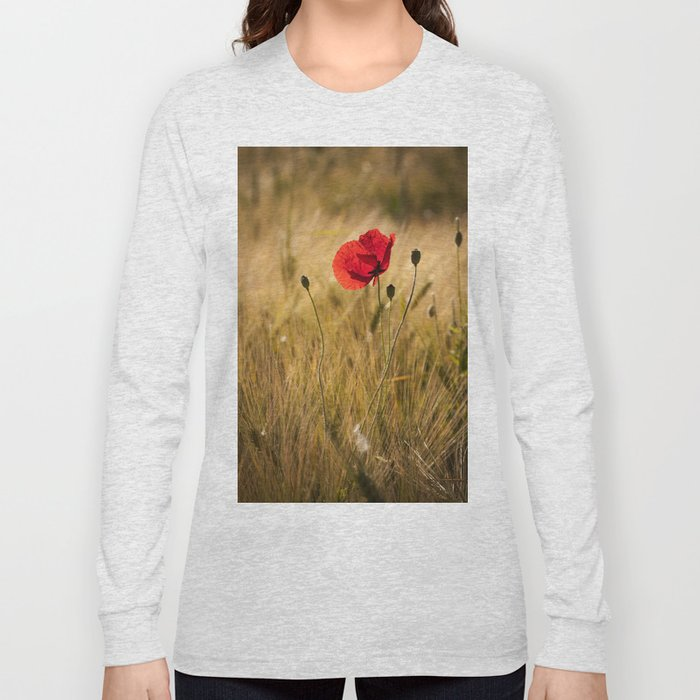 Poppies in a summerfield - Flowers Floral on #Society6 Long Sleeve T-shirt