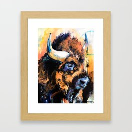"Thunder Hoof "", abstract, bison, wildlife, yellowstone, nature lover. Framed Art Print"