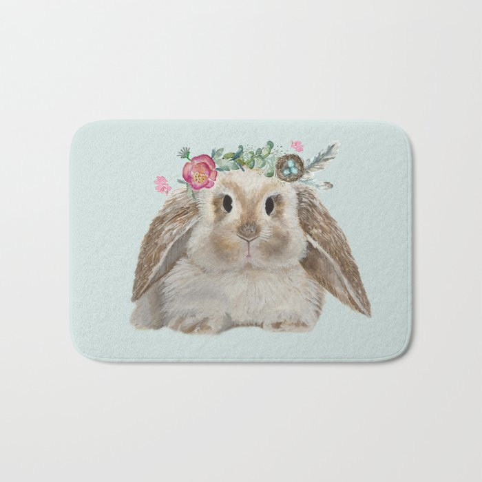 Spring Bunny with Floral Crown Bath Mat