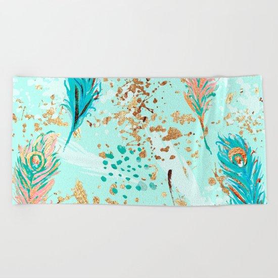 Feather peacock peach mint #7 Beach Towel