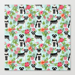 Schnauzer hawaii pattern floral hibiscus floral flower pattern palm leaves Canvas Print