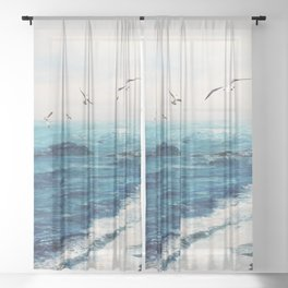 Watercolor Coast Sheer Curtain