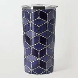 Shades Of Purple Cubes Pattern Travel Mug