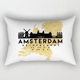 AMSTERDAM NETHERLANDS SILHOUETTE SKYLINE MAP ART Rectangular Pillow