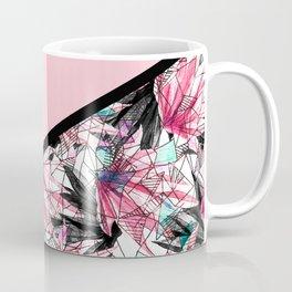 Blush Pink and Teal Abstract Tropical Leaves Coffee Mug
