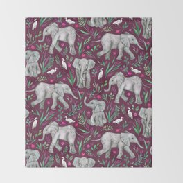 Baby Elephants and Egrets in Watercolor - burgundy red Throw Blanket