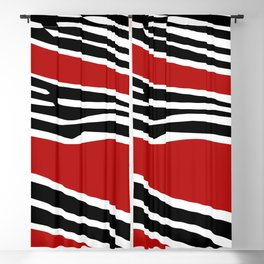 Red abstract shapes with zebra print decoration Blackout Curtain