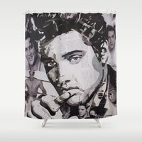 elvis Shower Curtains featuring Elvis by Ross Collins Artist