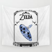 the legend of zelda Wall Tapestries featuring Zelda legend - Ocarina of time by Art & Be