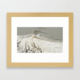 Surfing backwards Framed Art Print