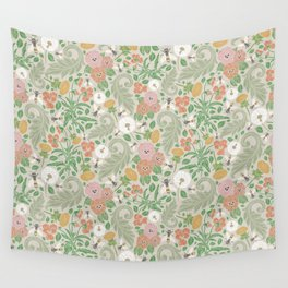 Pink and orange pansy with dandelions and bee on light background Wall Tapestry
