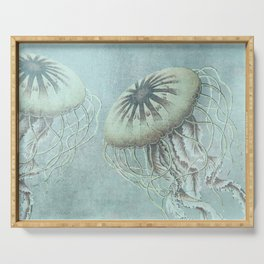 Jellyfish Underwater Aqua Turquoise Art Serving Tray