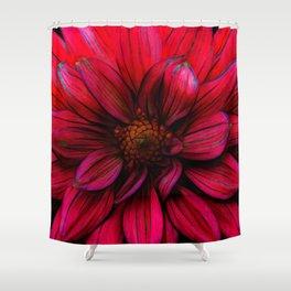 Red Flower Glow Shower Curtain