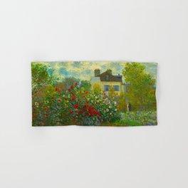 Claude Monet Impressionist Landscape Oil Painting A Corner of the Garden with Dahliass Hand & Bath Towel