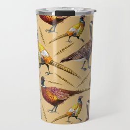 Vintage brown orange colorful pheasant birds pattern Travel Mug
