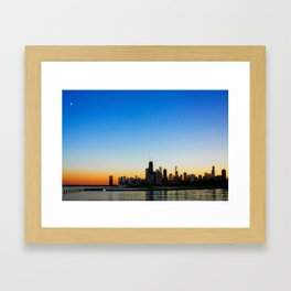 Sunset over Chicago Framed Art Print