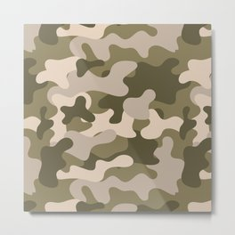 Green Gray Camouflage Pattern Metal Print