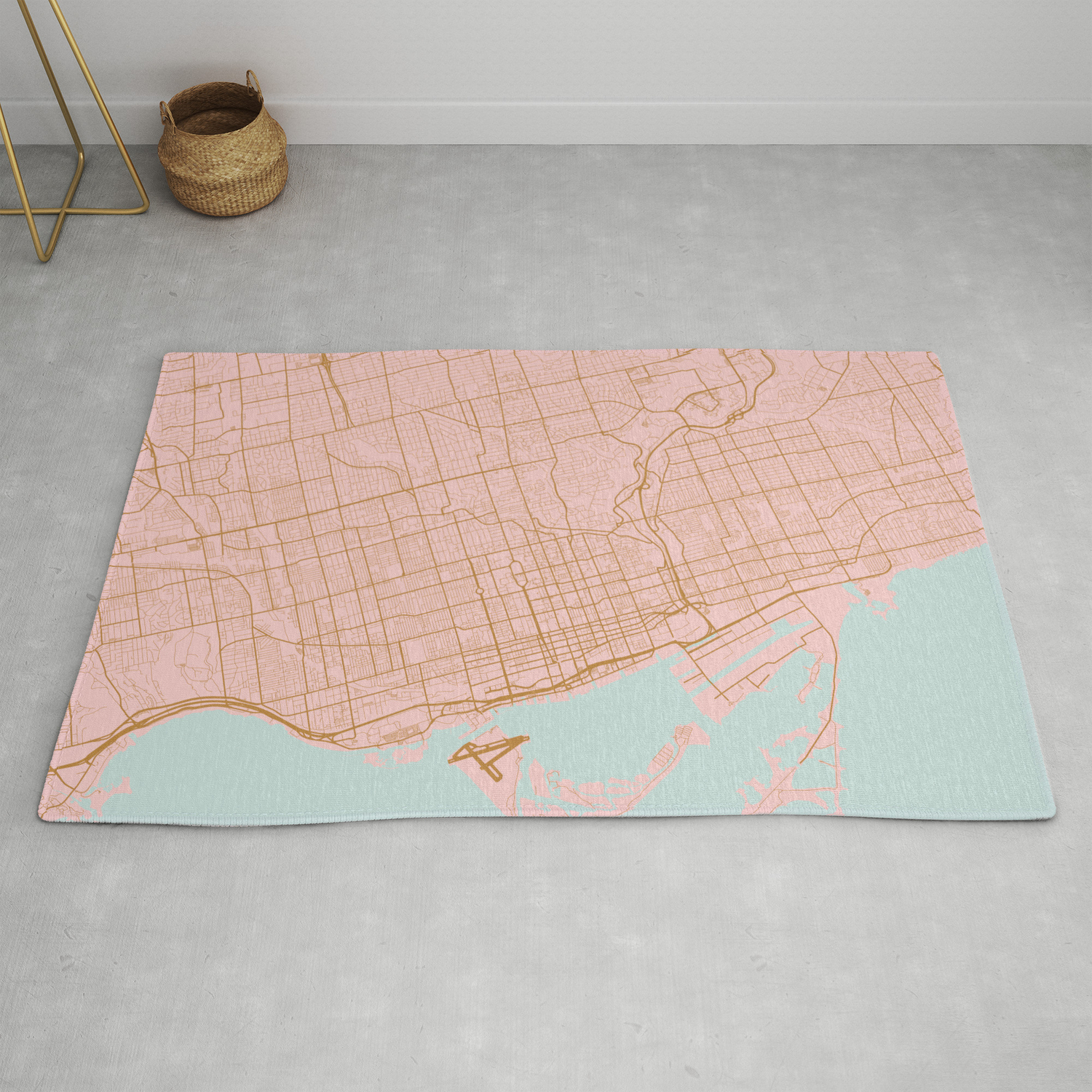 Pink And Gold Toronto Map Canada Rug