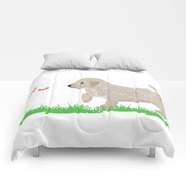 Cockapoo dog art cream Comforters
