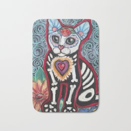 Day of the Dead Cat Bath Mat