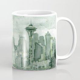 Seattle Skyline Watercolor Space Needle Emerald City 12th Man Art Coffee Mug