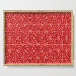 Geometric Stars pattern red Serving Tray