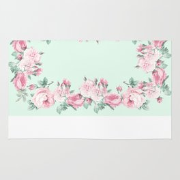 Shabby Roses Mint pink Rug