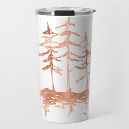 Three Sisters Trees Rose Gold on White Travel Mug