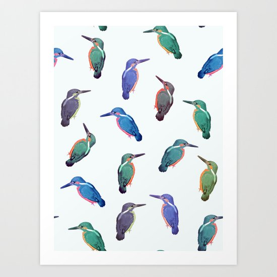 Colored kingfishers Art Print