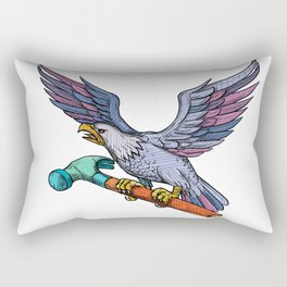 Eagle Clutching Hammer Mandala Rectangular Pillow