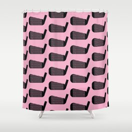 Golf Club Head Vintage Pattern (Pink/Black) Shower Curtain