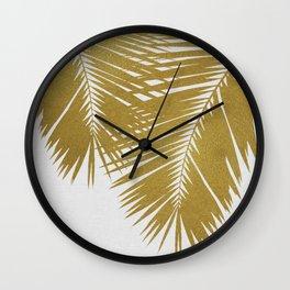 Palm Leaf Gold II Wall Clock