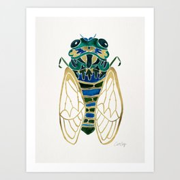 Green & Gold Cicada Art Print