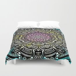 DETAILED CHARCOAL MANDALA (BLACK AND WHITE) WITH COLOR (PINK YELLOW TEAL) Duvet Cover