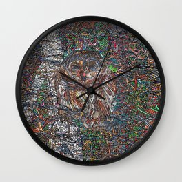 Owl in a Birch Grove Wall Clock