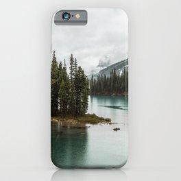 Emerald Landscape Photography   Maligne Lake   Jasper Alberta   Spirit Island iPhone Case