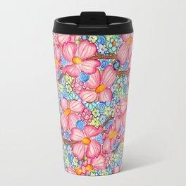 Large Pink Dogwood Flowers Tiled on Blue Background Travel Mug