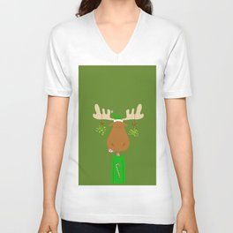 Merry Christmoose - Christmas Mistletoe Moose Unisex V-Neck