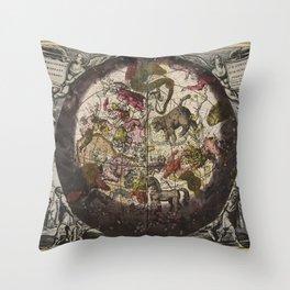 Keller's Harmonia Macrocosmica - Northern Celestial and Terrestrial Hemispheres 1708 Throw Pillow