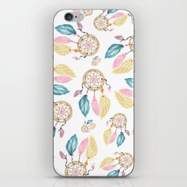 Hand painted watercolor pastel boho dreamcatcher pattern iPhone Skin