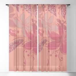 Samoa Watermelon Polynesian Floral Sheer Curtain
